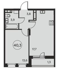 ЖК «Москва А101», планировка 1-комнатной квартиры, 40.30 м²