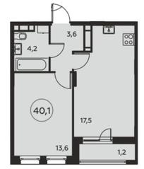 ЖК «Москва А101», планировка 1-комнатной квартиры, 40.10 м²