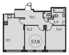 ЖК «Москва А101», планировка 2-комнатной квартиры, 57.80 м²
