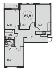 ЖК «Москва А101», планировка 3-комнатной квартиры, 89.80 м²