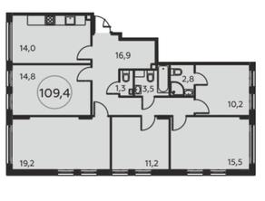 ЖК «Москва А101», планировка 5-комнатной квартиры, 109.40 м²