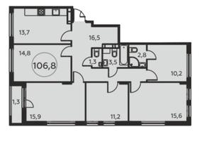 ЖК «Москва А101», планировка 5-комнатной квартиры, 106.80 м²