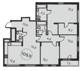 ЖК «Москва А101», планировка 4-комнатной квартиры, 109.90 м²