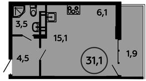ЖК «Скандинавия», планировка студии, 31.10 м²