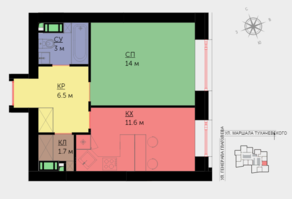 ЖК «Crystal», планировка 1-комнатной квартиры, 36.80 м²