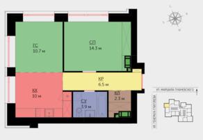 ЖК «Crystal», планировка 2-комнатной квартиры, 48.20 м²