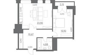МФК «Данилов дом», планировка 1-комнатной квартиры, 64.00 м²