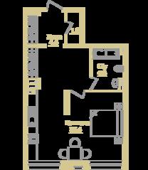 ЖК «Onyx Deluxe», планировка 1-комнатной квартиры, 46.40 м²
