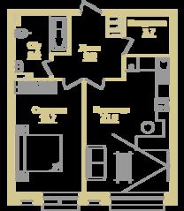 ЖК «Onyx Deluxe», планировка 2-комнатной квартиры, 53.40 м²