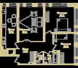 ЖК «Onyx Deluxe», планировка 3-комнатной квартиры, 86.00 м²