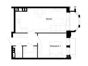МЖК «Barton», планировка 1-комнатной квартиры, 37.90 м²
