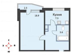 ЖК «мкр. Немчиновка», планировка 1-комнатной квартиры, 39.50 м²