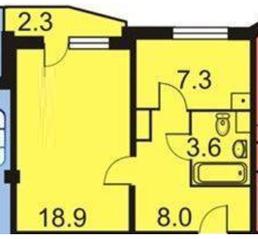 ЖК «мкр. Немчиновка», планировка 1-комнатной квартиры, 39.60 м²