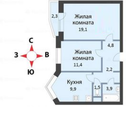 ЖК «мкр. Немчиновка», планировка 2-комнатной квартиры, 52.50 м²