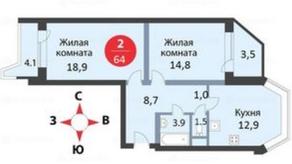 ЖК «мкр. Немчиновка», планировка 2-комнатной квартиры, 64.00 м²