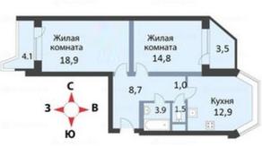 ЖК «мкр. Немчиновка», планировка 2-комнатной квартиры, 64.10 м²