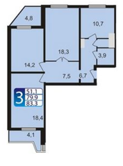 ЖК «мкр. Немчиновка», планировка 3-комнатной квартиры, 83.30 м²