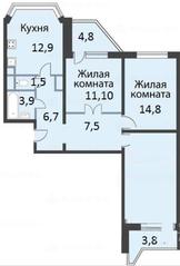 ЖК «мкр. Немчиновка», планировка 3-комнатной квартиры, 95.60 м²