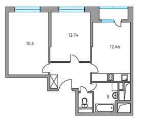 ЖК «Москвичка», планировка 2-комнатной квартиры, 49.97 м²