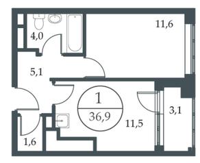 МФК «Искра-Парк», планировка 1-комнатной квартиры, 36.90 м²