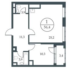 МФК «Искра-Парк», планировка 1-комнатной квартиры, 56.40 м²