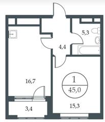 МФК «Искра-Парк», планировка 1-комнатной квартиры, 45.00 м²