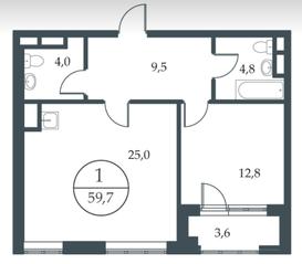 МФК «Искра-Парк», планировка 1-комнатной квартиры, 59.70 м²