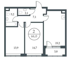 МФК «Искра-Парк», планировка 2-комнатной квартиры, 66.00 м²