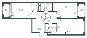 МФК «Искра-Парк», планировка 2-комнатной квартиры, 82.00 м²
