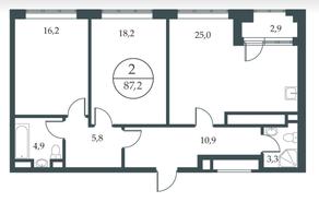 МФК «Искра-Парк», планировка 2-комнатной квартиры, 87.20 м²