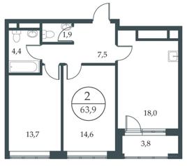 МФК «Искра-Парк», планировка 2-комнатной квартиры, 63.90 м²