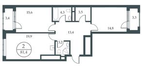 МФК «Искра-Парк», планировка 2-комнатной квартиры, 81.40 м²