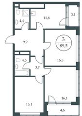 МФК «Искра-Парк», планировка 3-комнатной квартиры, 89.50 м²