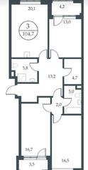 МФК «Искра-Парк», планировка 3-комнатной квартиры, 104.70 м²
