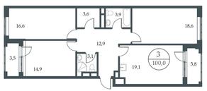 МФК «Искра-Парк», планировка 3-комнатной квартиры, 100.00 м²