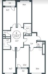 МФК «Искра-Парк», планировка 4-комнатной квартиры, 128.70 м²