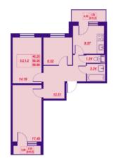 ЖК «Добрыня-2», планировка 3-комнатной квартиры, 69.44 м²