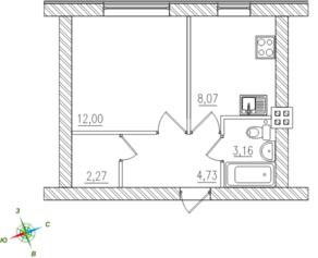 МЖК «Тихий город», планировка 1-комнатной квартиры, 30.11 м²