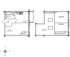 МЖК «Тихий город», планировка 1-комнатной квартиры, 51.38 м²