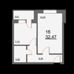 ЖК «Школьная, 21», планировка 1-комнатной квартиры, 32.47 м²