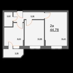 ЖК «Школьная, 21», планировка 2-комнатной квартиры, 44.78 м²