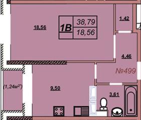 ЖК «Аврора (Химки)», планировка 1-комнатной квартиры, 38.79 м²