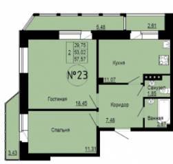 МЖК «Альпийская деревня», планировка 3-комнатной квартиры, 57.57 м²