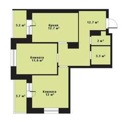 ЖК «Прагма City», планировка 2-комнатной квартиры, 54.30 м²