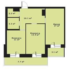 ЖК «Прагма City», планировка 2-комнатной квартиры, 57.50 м²