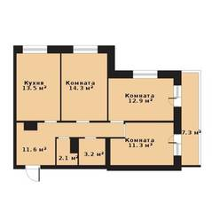 ЖК «Прагма City», планировка 3-комнатной квартиры, 68.90 м²