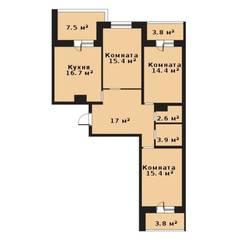 ЖК «Прагма City», планировка 3-комнатной квартиры, 85.40 м²