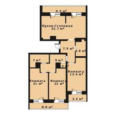 ЖК «Прагма City», планировка 3-комнатной квартиры, 118.20 м²
