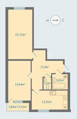 МЖК «Солнечная сторона», планировка 2-комнатной квартиры, 63.61 м²