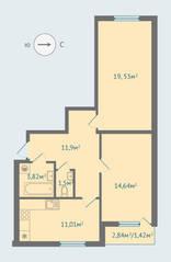 МЖК «Солнечная сторона», планировка 2-комнатной квартиры, 63.70 м²